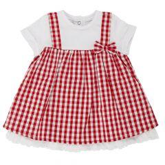 Rochita copii Chicco, maneca scurta, alb cu carouri rosii, 86