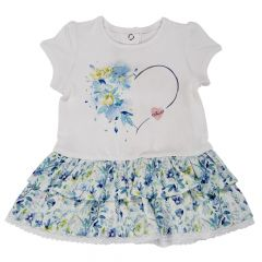 Rochita maneca scurta copii Chicco, alb cu flori multicolore, 56