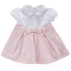 Rochita maneca scurta copii Chicco, alb cu roz, 74