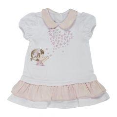 Rochita maneca scurta copii Chicco, alb cu roz, 68