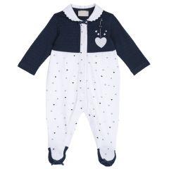 Salopeta bebe Chicco, maneca lunga, alb cu bleumarin, 50