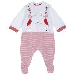 Salopeta bebe Chicco, maneca lunga, rosu cu alb, 68