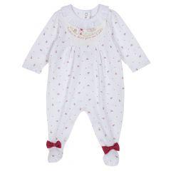 Salopeta bebe Chicco, alb cu model, 68