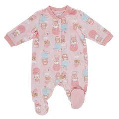 Salopeta bebelusi Chicco, cu botosei incorporati, inchidere fata, roz cu model, 62