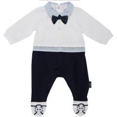 Salopeta bebelusi Chicco, deschidere spate, botosei incorporati, alb cu bleumarin, 21611