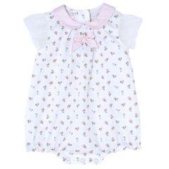 Salopeta bebelusi Chicco, fetite, alb cu roz, 50