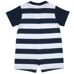 Salopeta bebelusi Chicco, pantalon scurt, alb cu bleumarin, 86