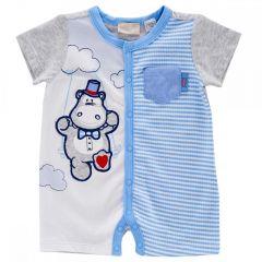 Salopeta bebelusi Chicco, scurta, albastru cu alb, 56
