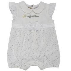 Salopeta bebelusi Chicco, scurta, inchidere spate, fetite, alb cu argintiu, 68