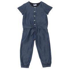 Salopeta fetite Chicco, dublata la torso cu bumbac, albastru, 116