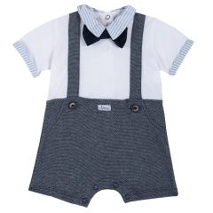 Salopeta copii Chicco, cu bretele si pantalon scurt, albastru cu alb, 56