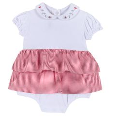 Salopeta cu fustita pentru fete, Chicco, jerse elastic, alb cu rosu, 68