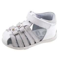 Sandale copii Chicco, piele naturala, alb, 19