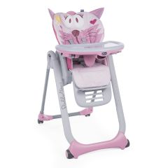 Scaun de masa Chicco Polly 2 Start 4roti, Miss Pink, 0 luni+