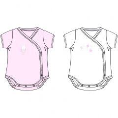 Set body-uri Chicco, maneca scurta, roz, 50