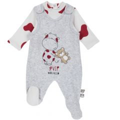 Set salopeta+body copii Chicco, gri deschis, 50