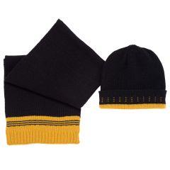 Set caciula + fular copii Chicco, negru cu galben, 4