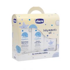 Set cosmetice Chicco Baby Moments, sampon, spuma si apa colonie