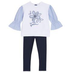Set bluzita si leggings fetite, Chicco, alb cu albastru, 122
