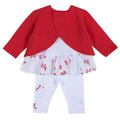 Set pantaloni si bluza pentru fetite Chicco, alb cu rosu, 74