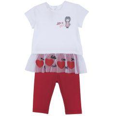 Set tricou si colanti copii Chicco, rosu, 92