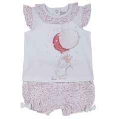 Set tricou si pantalon fete, Chicco, roz cu model, 74
