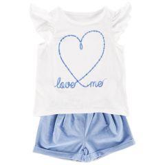 Set tricou si pantalon scurt copii Chicco, fetite, alb cu bleu, 98