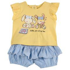Set doua piese copii Chicco, pantalon si tricou, galben, 68