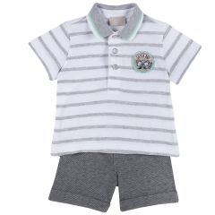 Set tricou si pantalon Chicco, gri inchis, 80