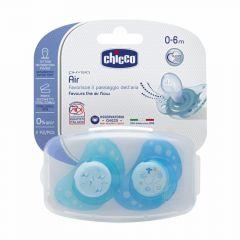 Suzeta Chicco silicon Physio Air, forma ortodontica, 0-6 luni+, 2buc, blue