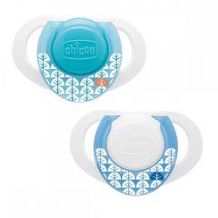 Suzeta Chicco silicon Physio Compact, forma ergonomica, 0-6luni, 2buc, blue