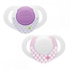 Suzeta Chicco silicon Physio Compact, forma ergonomica, 0-6luni, 2buc, roz