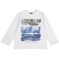Tricou maneca lunga Chicco, alb, 128