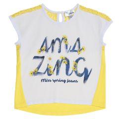 Tricou copii Chicco, fara maneci, fete, alb cu galben, 128