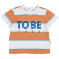 Tricou copii Chicco, maneca scurta, bleu cu alb, 80