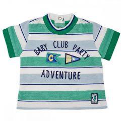 Tricou maneca scurta copii Chicco, alb cu dungi bleu si verzi, 56