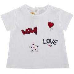 Tricou maneca scurta copii Chicco, fetite, alb, 98