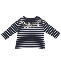 Tricou pentru copii, Chicco, maneca lunga, bleumarin, 56