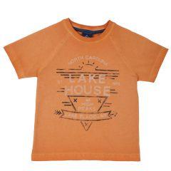 Tricou copii Chicco, maneca scurta, portocaliu cu model, 128