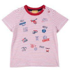 Tricou copii Chicco, maneca scurta, rosu cu alb, 92