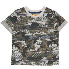 Tricou pentru copii, Chicco, maneca scurta, maro cu model, 116