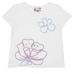 Tricou pentru fetite, Chicco, maneca scurta, alb cu model, 110