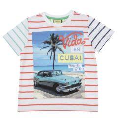 Tricou copii Chicco, alb cu dungi si model, 06014