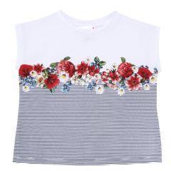 Tricou pentru copii Chicco, fetite, dungi si flori, 110