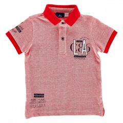 Tricou pentru copii Chicco, polo cu maneca scurta, rosu cu alb, 104