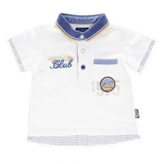 Tricou polo copii Chicco, alb cu model, 74