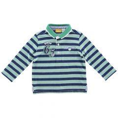 Tricou polo copii Chicco, maneca lunga, albastru cu dungi albe si verzi, 33406