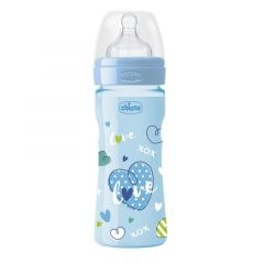 Biberon Chicco WellBeing Love Edition, PP, 250ml, tetina silicon, flux rapid, Boy, 0%BPA, 2luni+