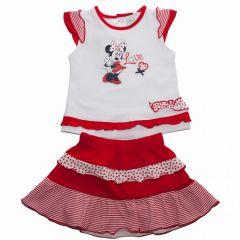 Set bluza/fusta Minnie -Alb/ Rosu