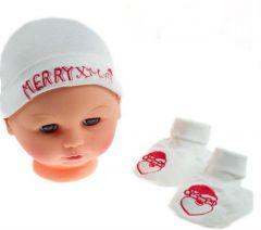 Set caciulita+botosei bebe Craciun (NB)-Alb